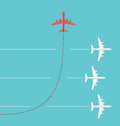 red airplane changing direction vector image