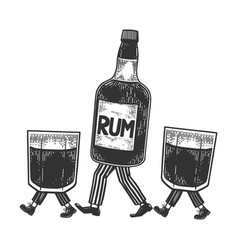 rum walks on its feet sketch engraving vector image