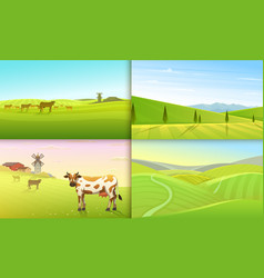 rural landscape or meadow green farm poster or vector image
