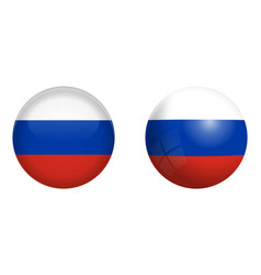 russia flag under 3d dome button and on glossy vector image
