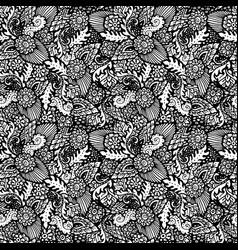 seamless pattern with floral items hand-drawn vector image vector image
