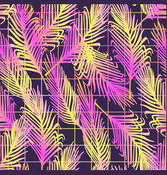 seamless pattern with neon palm leaves vector image