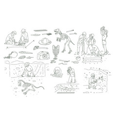 Set archeology tools and people working vector
