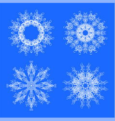 set different winter white snowflakes vector image