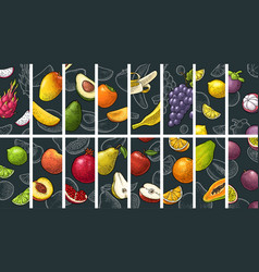 Set fruits whole half and slice vintage vector