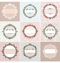 set of vintage floral frames vector image