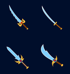 set of weapon icon label of fantasy and medieval vector image