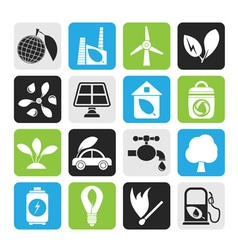 Silhouette environment and ecology icons vector