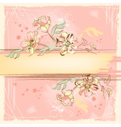 Sketch grunge flowers on watercolor background vector