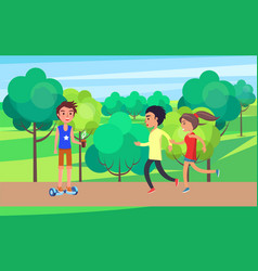 student teenagers jogging going for sport vector image