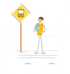 student waiting at bus stop vector image