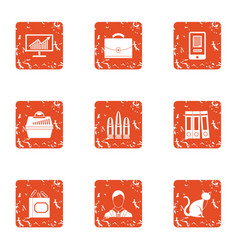 Thrifty economy icons set grunge style vector