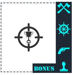 trophy target icon flat vector image