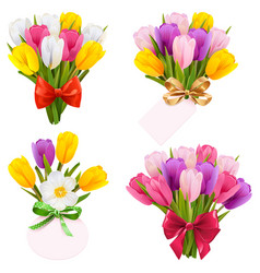 tulip bouquet icons vector image
