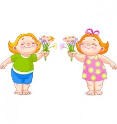 Two babies with bouquets vector