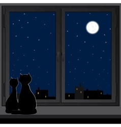 Two cats sitting on a windowsill vector image