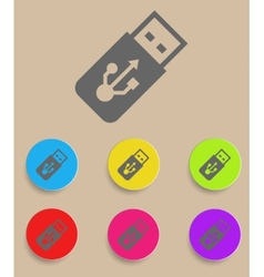 USB Flash drive icon with color variations vector image