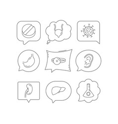 Virus tablet and stomach organ icons vector