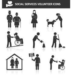 Volunteer icons set vector