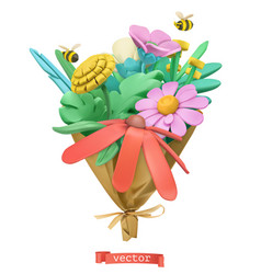 wildflowers bouquet plasticine art 3d icon vector image