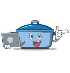 With laptop kitchen character cartoon style vector