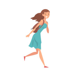 Young smiling woman running with their bag to vector