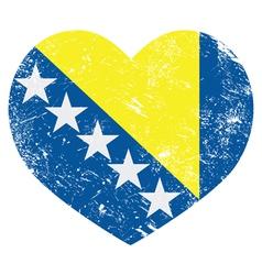 Bosnia and herzegovina retro heart flag vector