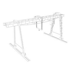 gantry crane wire-frame vector image vector image