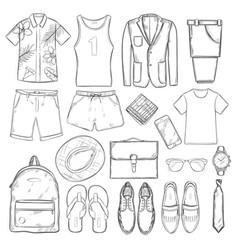 sketch summer vacation male elements set vector image
