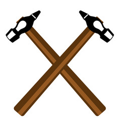 two crossed hammers vector image vector image
