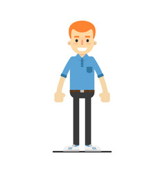 young happy redheaded guy character vector image vector image