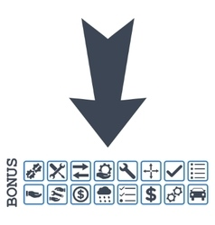 Arrow Down Flat Icon With Bonus vector image