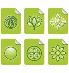 assorted green leaf sticky notes vector image