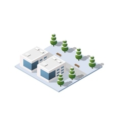 City three-dimensional winter town vector