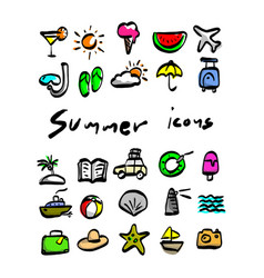colorful summer icons sketch hand vector image