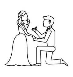 couple wedding ring romantic outline vector image vector image