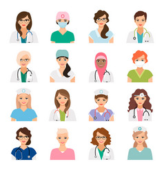 female doctors and nurses avatars set vector image