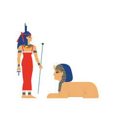 flat isis egypt goddes and sphinx vector image