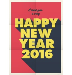 happy new year 2016 poster retro title vector image