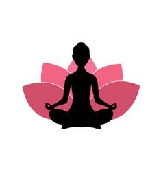Yoga woman silhouette pink lotus flower logo vector
