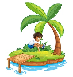 A boy jumping at the island vector image