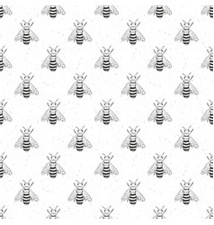 bee hand drawn seamless pattern monochrome vector image vector image