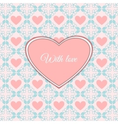 Cute romantic card with heart vector image