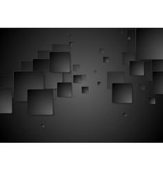 Dark black geometric squares tech background vector image