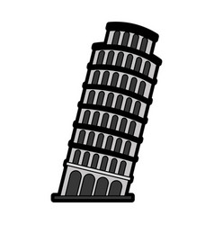 Flat leaning tower of pisa vector