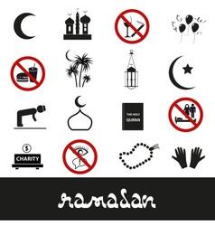 ramadan islam holiday black icons set eps10 vector image
