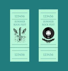summer rock fest set of tickets on blue-green vector image vector image