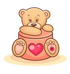 teddy and valentine gift vector image vector image