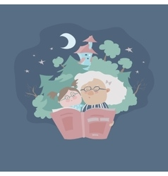 Grandmother reading fairytales to her vector image vector image