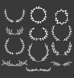 Hand drawn laurels wreaths doodle set vector